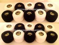 20 Anchor Pearl Black & White Crochet Cotton Balls no.8 , 85m , 10g