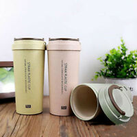 400 ml To Go Double-Wall Wheat Straw-Coffee Cup Travel Mug Leak Proof With Lid