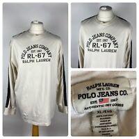 RALPH LAUREN POLO JEANS CO / Mens Graphic Long Sleeved T Shirt / XL Cotton VTG