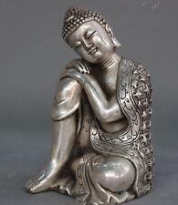 Old Tibetan Buddhism Silver Seat Sleep Shakyamuni Sakyamuni Buddha Statue