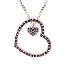 Round Shape Amethyst Open Heart Pendant Necklace 14K Rose Gold Over Sterling