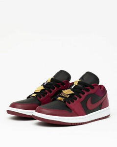 Nike Air Jordan Retro 1 Low Dark Beetroot Maroon W Gold Red DB6491-600 Women's