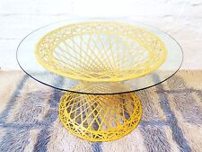 Vintage Spun Fiberglass Yellow Coffee Table Glass Outdoor Russel Woodard MCM 60s