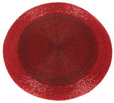 Round Red Furniture Dining Table Woven Glass Bead Placemat 30cm