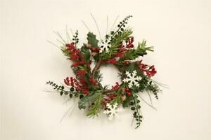 """New Primitive Christmas PINE METAL SNOWFLAKE RED BERRY CANDLE RING Wreath 3"""""""