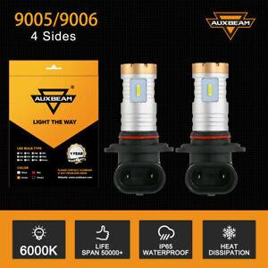 2X Auxbeam LED Headlight Bulbs Kit 9005/9145 Fog Lights Super Bright 6000K White