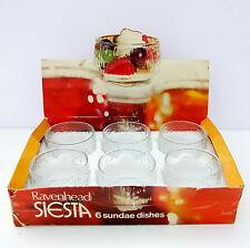 Vintage Retro 1970s Ravenhead Siesta Glass Sundae Dishes Set 6