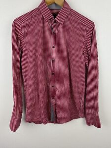 Bossini Mens Shirt Size M Long Sleeve Button Up European Fit Red White Check