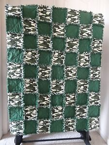 """Camo Flannel Rag Quilt 41""""x52"""" Camouflage Hunting"""