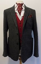 "DUCHAMP LONDON mens GREY STRIPE TWEED HACKING JACKET BLAZER 42"" New with tags"