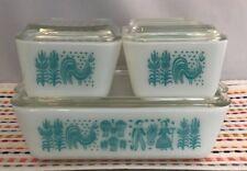 Vintage Pyrex Butterprint Refrigerator Dish Set Fridgie with Lids 503 502 501