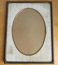"""VTG Brass and Velvet Embossed Edge Picture Frame Oval 6 5/8"""" x 9 3/8"""" photo MCM"""