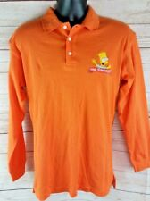 The Simpsons Vintage 1998 Orange Bart Polo Collar Shirt Embroidered Offical Rare