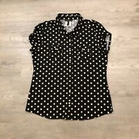 BCBG Maxazria Womens Large Black S/S Stretch Button Top Blouse Beige Polka Dot