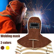 Welder Masks Leather Welding Helmet Hood Safety Protector Cap Brown Yellow