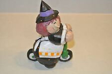 """5"""" Eddie Walker Halloween Witch riding green Scooter apron Hat Signed"""