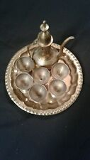 Antique Brass Hand Etched 8 Piece Miniature Tea Set 6 Cups And Tray From India