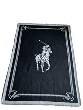Polo Ralph Lauren Logo Wool Blanket -Black/Gray Made In Scotland $750.00 Msrp
