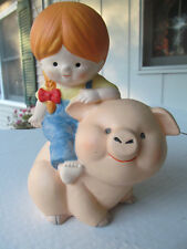 Enesco Girl with Pig Piggy Bank Figurine Katie Country Cousins  - NWOT