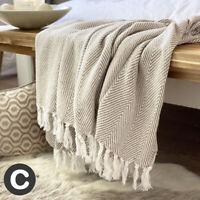 Luxury Neutral Beige Linen Eco Cotton Herringbone Soft Bed Sofa Blanket Throw