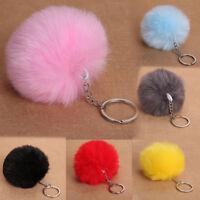 Elegant Very Soft Fluffy Rabbit Fur Ball Key Chain PomPom Handbag Car Key  #A