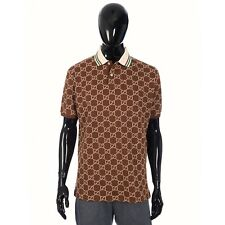 GUCCI 1150$ Polo Shirt In Brown Stretch Cotton With Camel GG Motif Embroidery XL