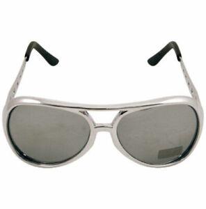 Rock Star Elvis Sunglasses Silver colour Sunglasses Fancy Dress Accessories