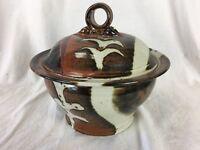 Covered Glazed POT Artisan Pottery Signed Jay Trenchard CA Dish Studio Handmade