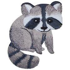 """Raccoon Applique Patch - Nocturnal Mammal, Animal Badge 2.5"""" (Iron on)"""