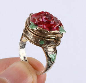 ROSE OPENING & CLOSING .925 SILVER & BRONZE RING SIZE 7.5 #11642