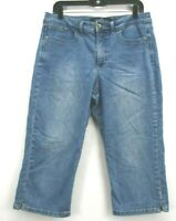 Gloria Vanderbilt Womens 12 The Perfect Fit Adriana Denim Jean Belted Capri Pant