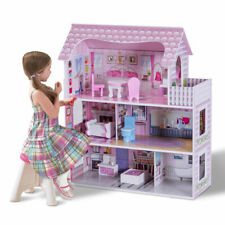 "28"" Pink Dollhouse w/ Furniture Gliding Elevator Rooms 3 Levels Young Girls Toy"