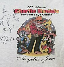 CHARLIE DANIELS Tour Concert Large tshirt SIGNED Angelus Jam 11th,Dickey Betts