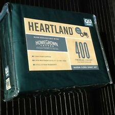 EMERALD GREEN Heartland 400 TC 100% HomeGrown Cotton Sateen QUEEN Sheet Set