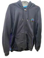 Vintage Mens Nike Air Jordan Black Aqua 8 Full Zip Hoodie Jacket Size XL