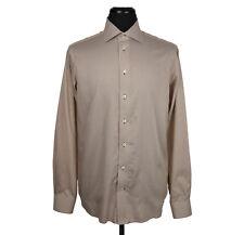 Eton Contemporánea FIT L/S Camisa marrón/blanco telas a rayas _ hombre size 16-