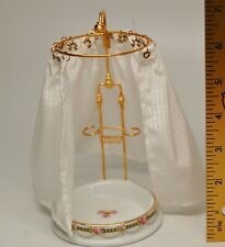 """Reutter Porcelain Bathroom Shower with Curtain and Brass Fixtures 1:12, 6 3/8"""""""