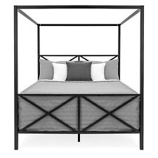 4 Post Canopy Bed Frame Queen Size Modern Industrial Style Black Metal Finish