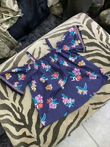 River Island Cold Shoulder Girls Blue Holiday Summer Top Age 9-10 Years Twins