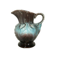 Vtg Mid-Century Germany Pottery Pitcher Vase Jug Blue Brown Drip Glaze 280 16cm