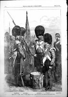Antique Old Print Troops War British Infantry Guards Cstreams Grenadiers1854