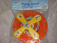 Orange Flying Saucer Disc Cartoon Design Yellow Cross Play Outdoors Frisbee NEW!