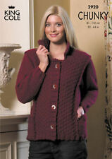 Ladies Chunky Knitting Pattern 2920: Sweater & Jacket