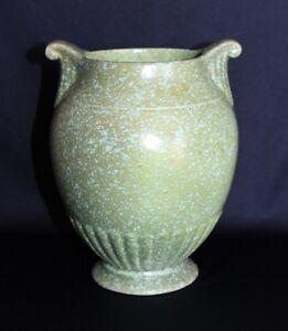 Art Deco Crown Devon Vase Green Sponge Glaze C1930-35