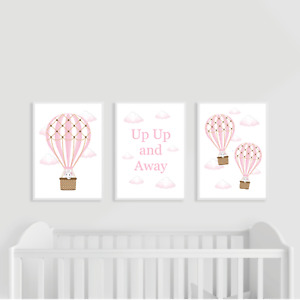 Hot Air Balloon Nursery Prints, Set of 3, Pink, Girl, Up Up and Away, Elephant