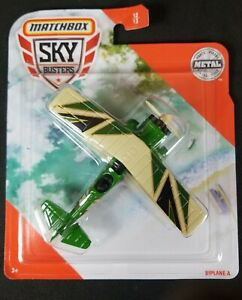 Matchbox 2020 Sky Busters BIPLANE-A #12 Die-cast Airplane Green - NEW/ Sealed