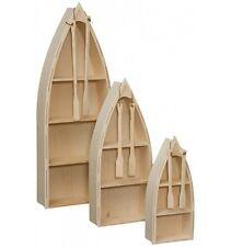 AMISH Unfinished Pine ~ 4' Nautical ROW BOAT BOOKCASE Shelf Canoe Oars HANDMADE