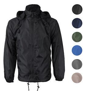Men's Water Resistant Polar Fleece Lined Hooded Windbreaker Rain Jacket