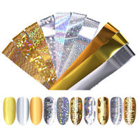 10 Pcs/Box Starry Sky Nail Foil Holographic Rose Gold Design Nail Art Stickers