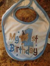 baby boys MY 1ST FIRST BIRTHDAY BIB brown blue bear stars CUTE party CLEAN!